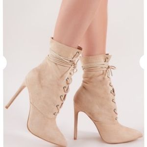 Public Desire Spectrum Lace up Ankle Boots in Nude